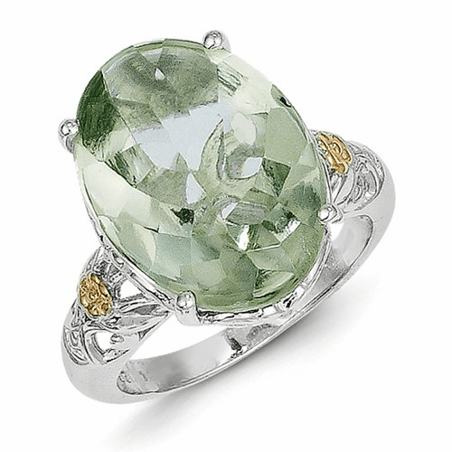 Sterling Silver W/14k Green Quartz Ring Qtc889-7