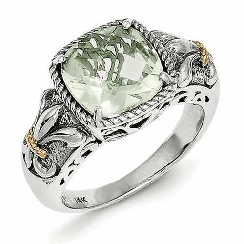 Sterling Silver W/14k Green Quartz Ring Qtc908-7