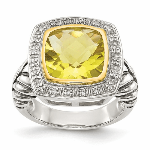 Sterling Silver W/14k Lemon Quartz & Diamond Ring Qtc37-7