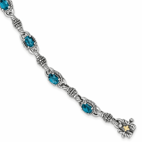 Sterling Silver W/14k London Blue Topaz 7.25 In. Bracelet Qtc1383