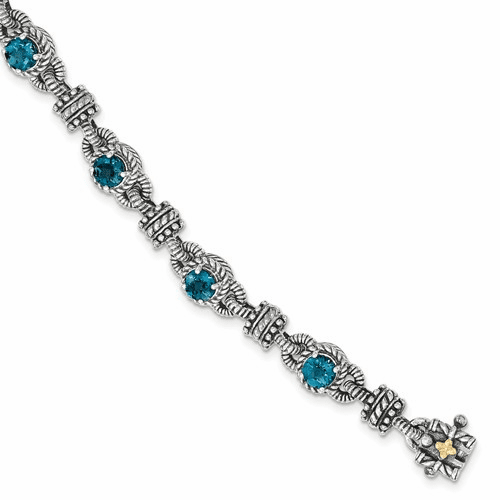 Sterling Silver W/14k London Blue Topaz Bracelet Qtc1377