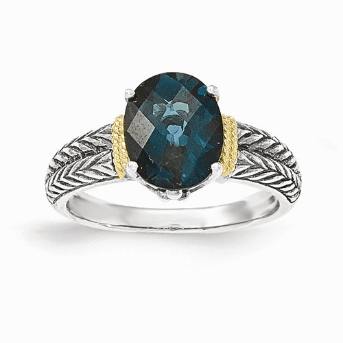 Sterling Silver W/14k London Blue Topaz Ring Qtc1348-6