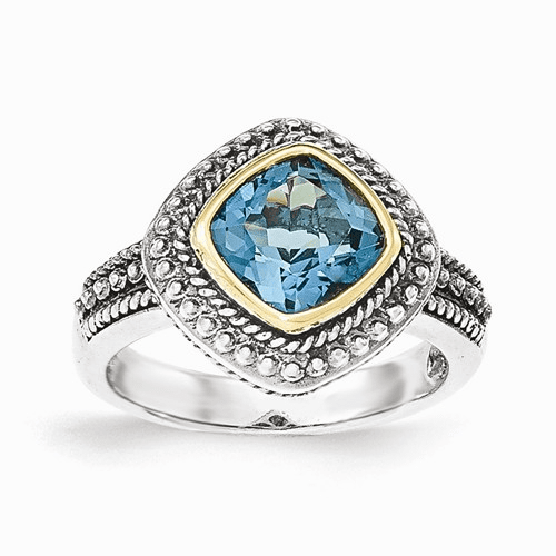 Sterling Silver W/14k London Blue Topaz Ring Qtc1354-6