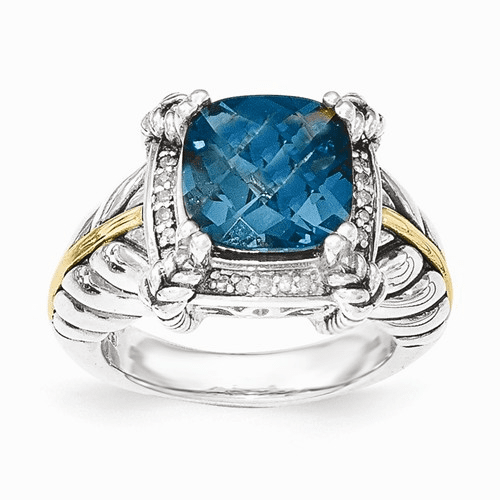 Sterling Silver W/14k London Blue Topaz W/diamond Ring Qtc1345-7