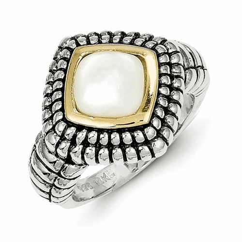 Sterling Silver W/14k Mother Of Pearl Ring Qtc54-6