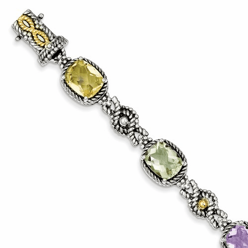 Sterling Silver W/14k Pink/green/lemon Quartz Bracelet Qtc295
