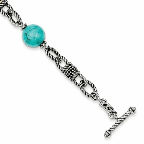 Sterling Silver W/14k Reconstructed Turquoise Bracelet Qtc453