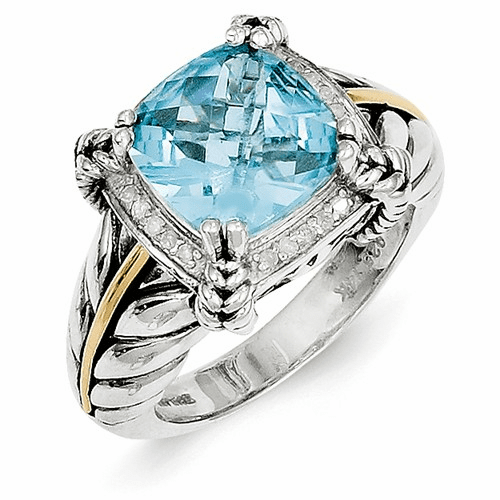 Sterling Silver W/14k Sky Blue Topaz & Diamond Ring Qtc150-6