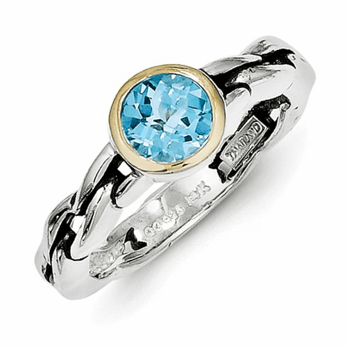Sterling Silver W/14k Sky Blue Topaz Ring Qtc148-7