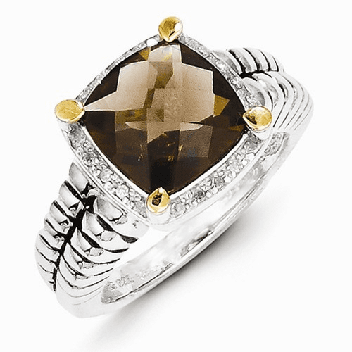 Sterling Silver W/14k Smoky Quartz & Diamond Ring Qtc14-6