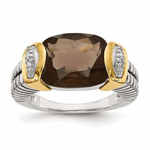 Sterling Silver W/14k Smoky Quartz & Diamond Ring Qtc22-7
