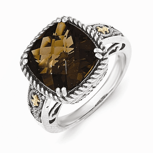 Sterling Silver W/14k Smoky Quartz Ring Qtc1498-7