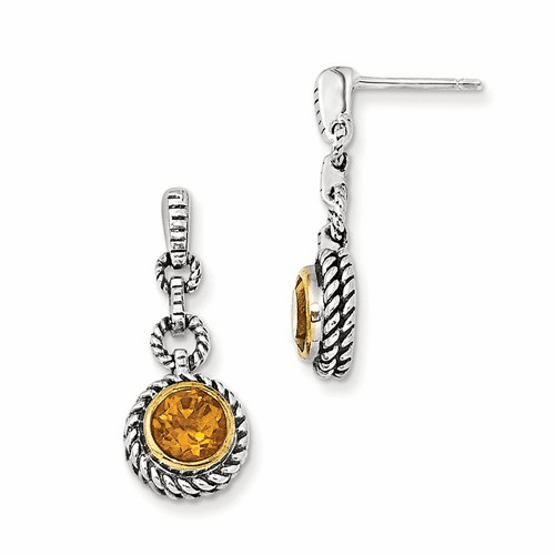 Sterling Silver W/gold-tone Flash Gold-plated Citrine Earrings Qtc28