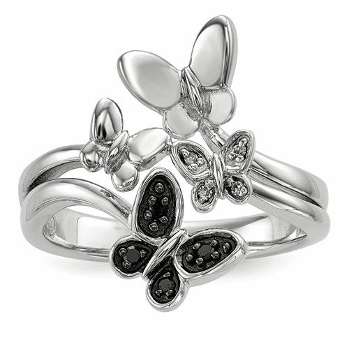 Sterling Silver White & Black Diamond Butterfly Ring Qr5426-7