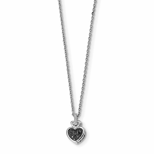 Sterling Silver White & Black Diamond Heart Pendant Qp3742
