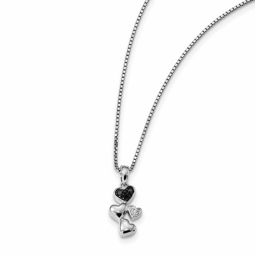Sterling Silver White & Black Diamond Heart Pendant Qp3746