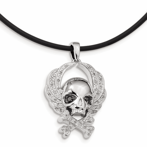 Sterling Silver White & Black Diamond Skull Pendant Qp3856