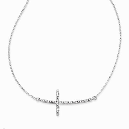 Sterling Silver With Cz Sideways Cross W/ 2 In Ext Necklace Qg3473-16