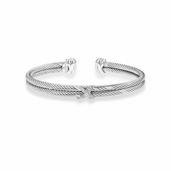 Sterling Silver with Rhodium Finish 6mm Textured Double Strand Cuff