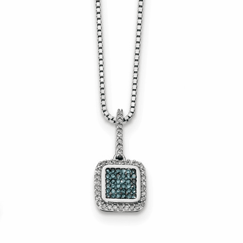 Sterling Silver With White/blue Diamonds Square Pendant Qp3690