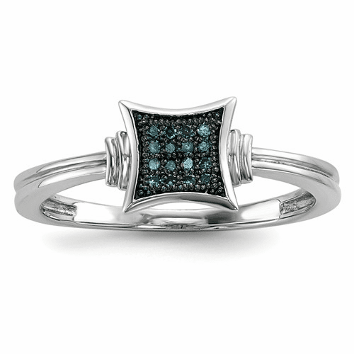 Sterling Silver With White/blue Diamonds Square Ring Qr5231-8