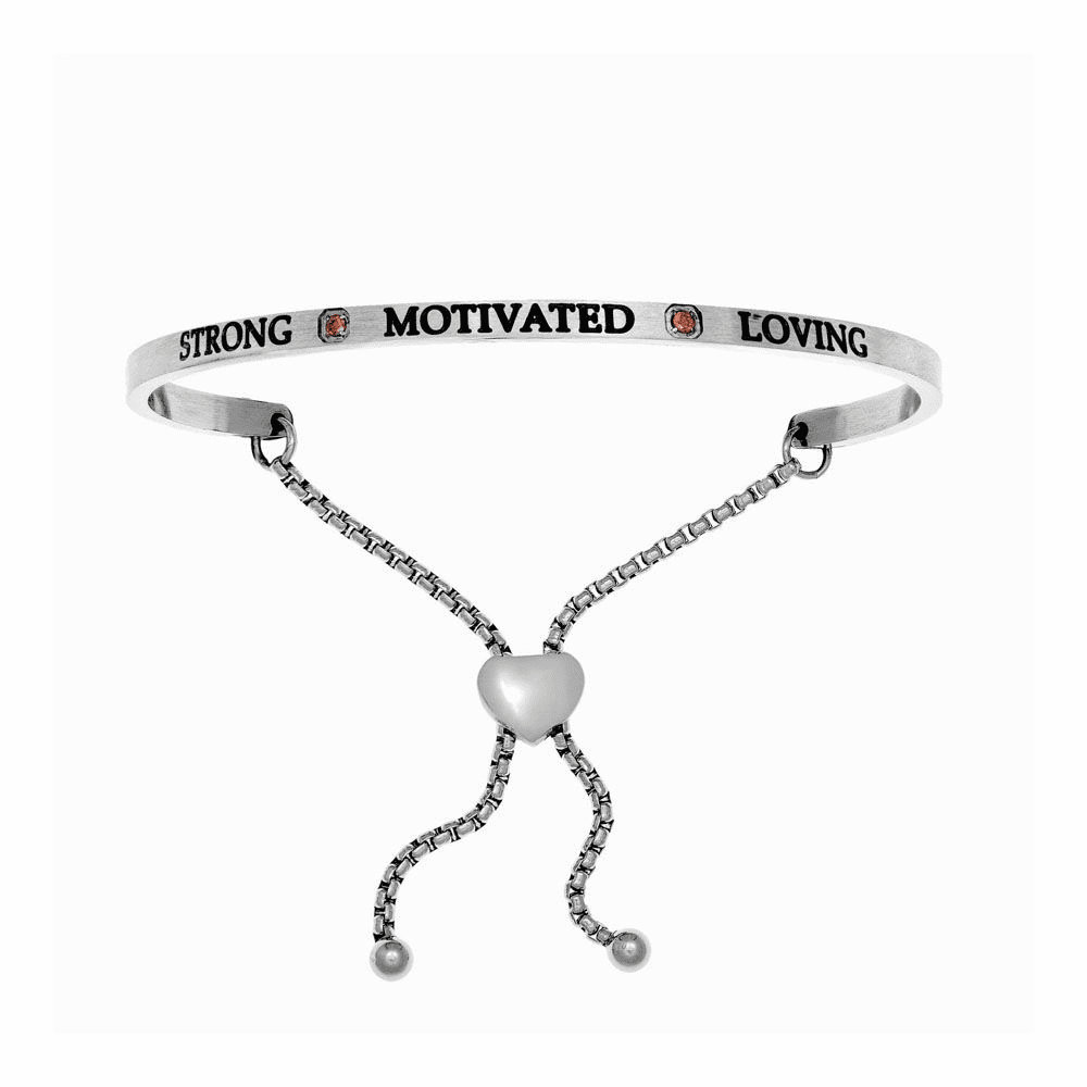 Strong Motivated Loving Adjustable Bangle - Stainless Steel