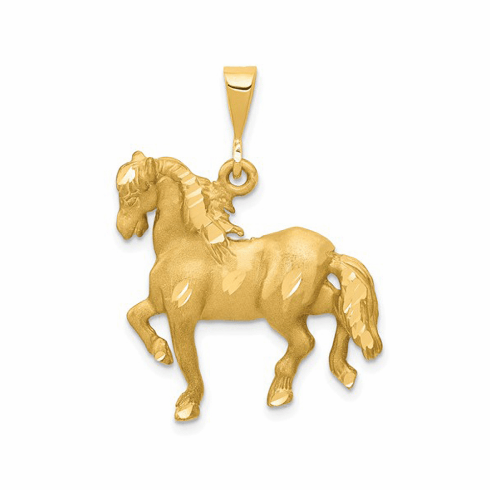 Textured Back Horse Pendant - 14K Yellow Gold