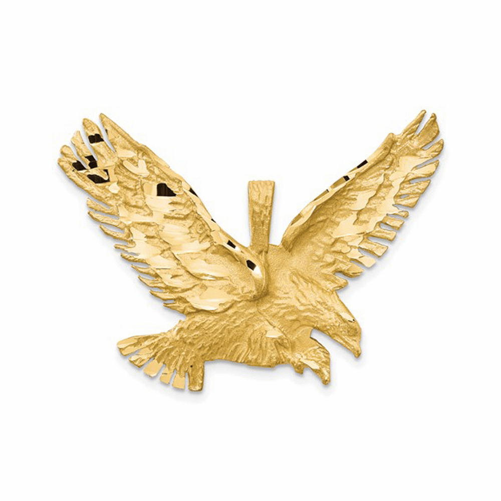 Textured Eagle Pendant - 14K Yellow Gold