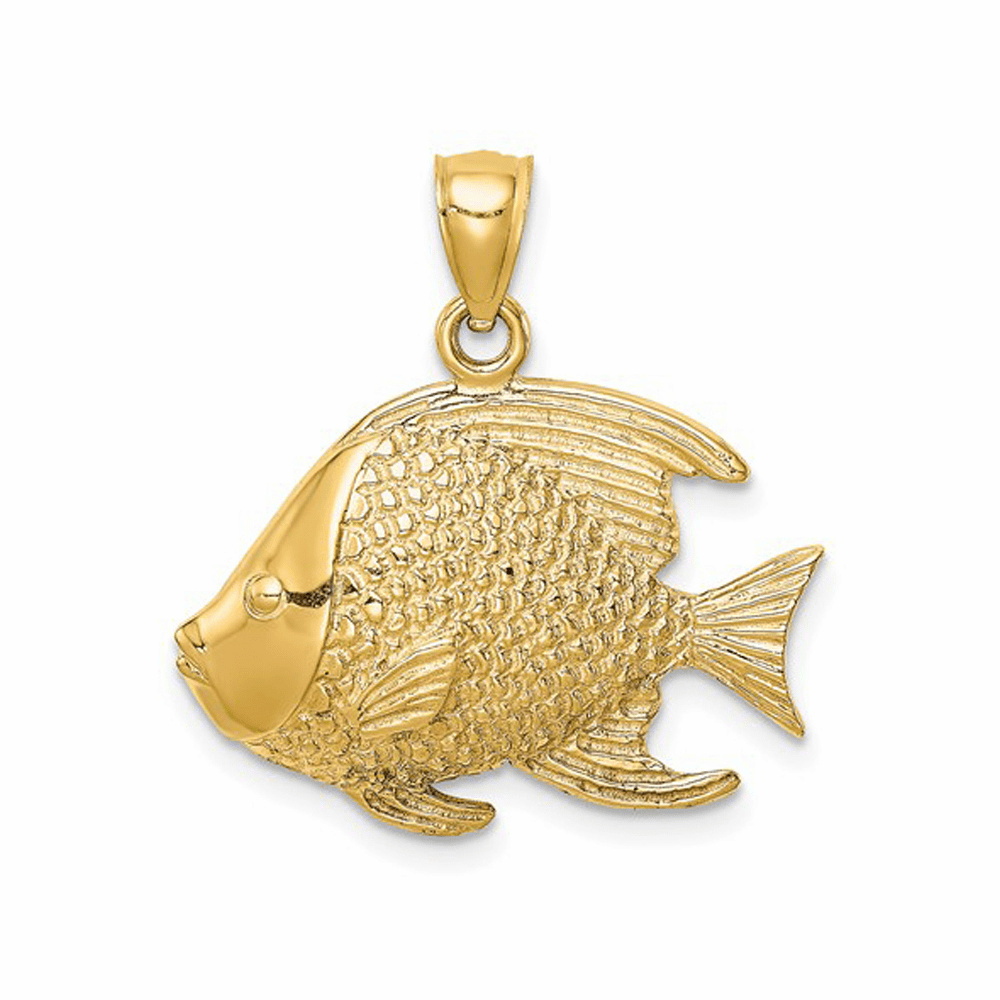 Textured Fish Pendant - 14K Yellow Gold