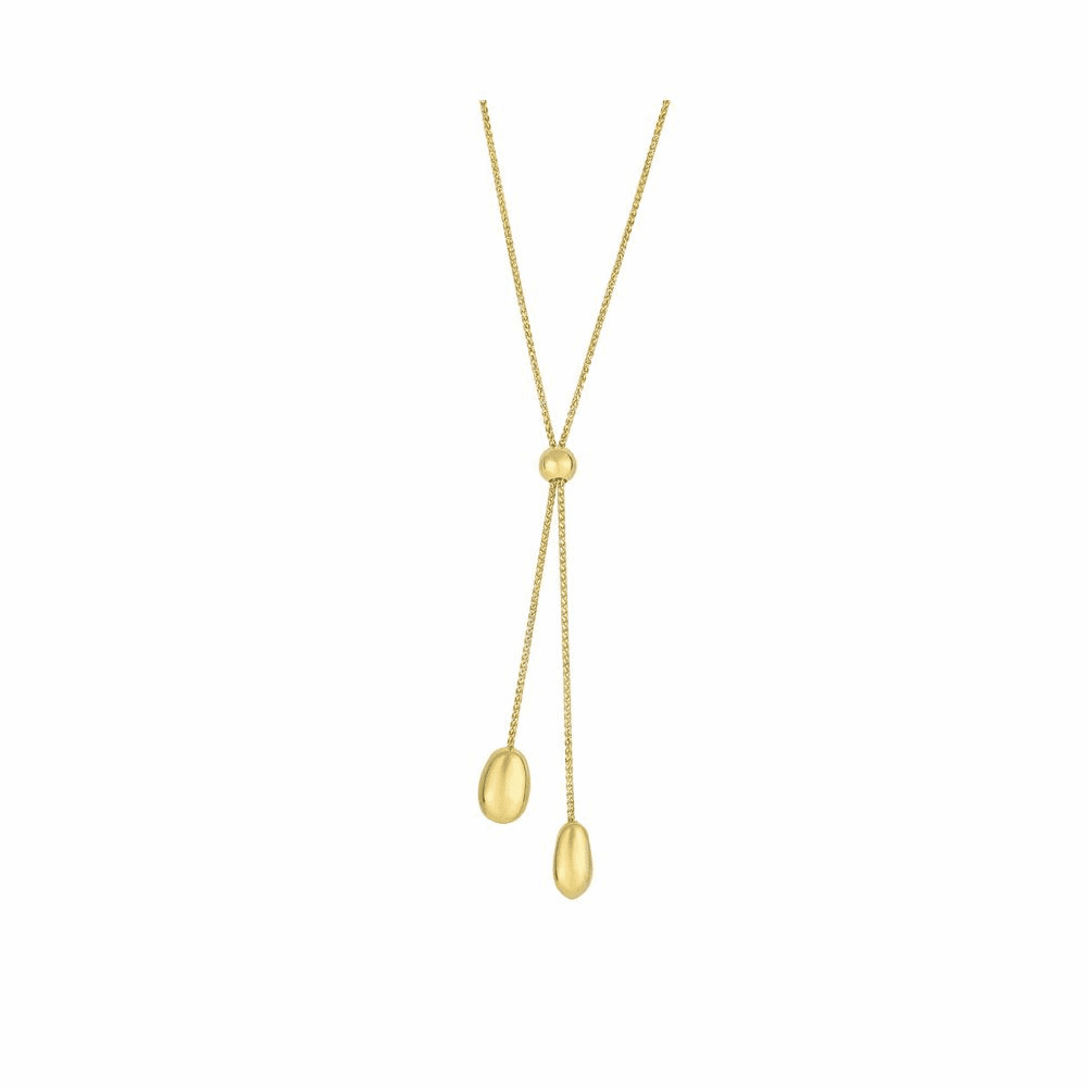 Textured Lariat Style Necklace - 14K Yellow Gold 24 Inch
