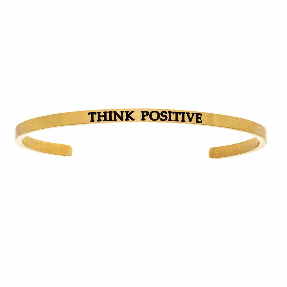 Think Positive Cuff Bangle - Stainless Steel