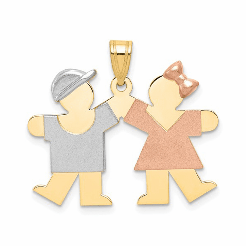 Tri-Color Small Boy on Left and Girl on Right Engravable Charm - 14K