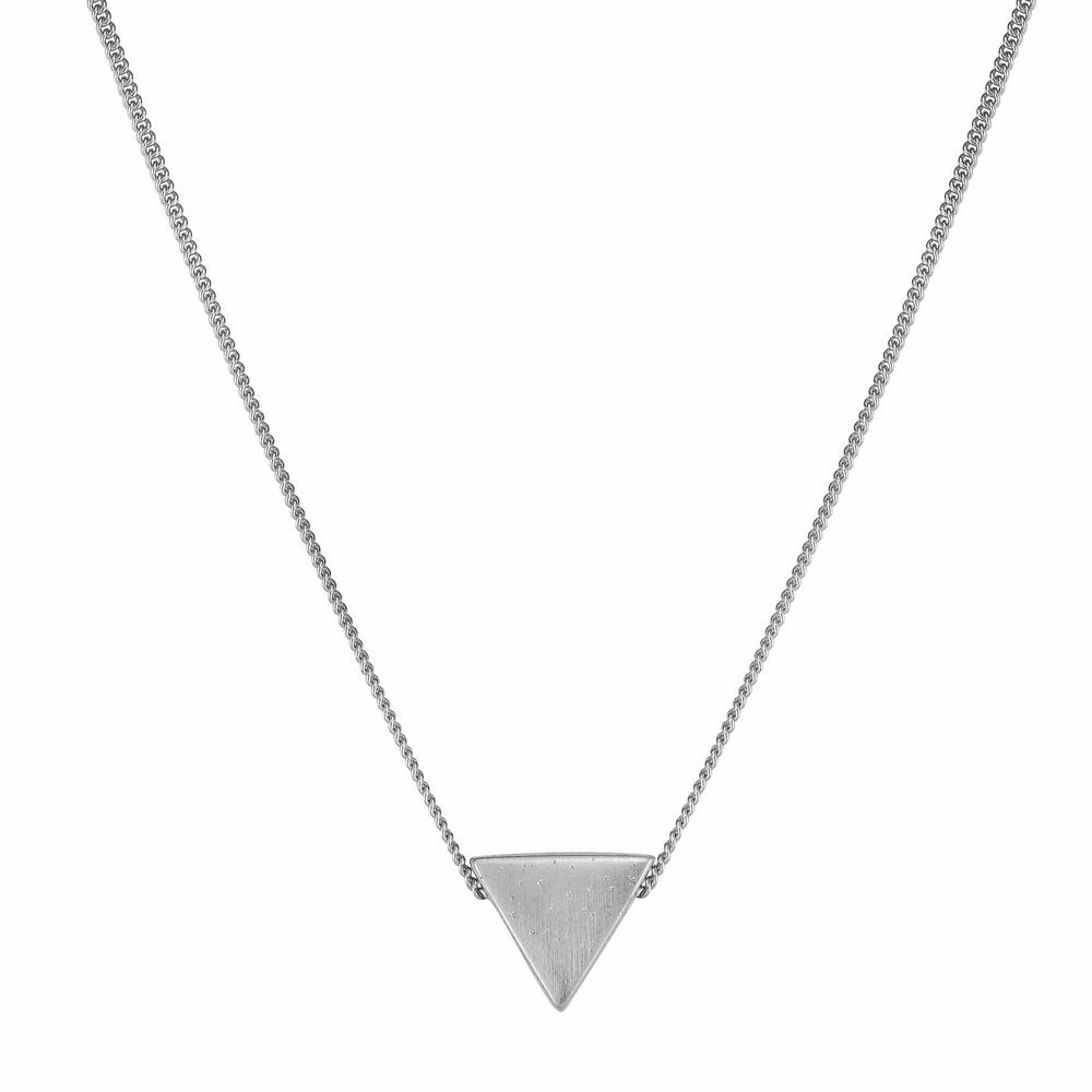 Triangle Fancy Necklace with Lobster Clasp - Sterling Silver 18 Inch
