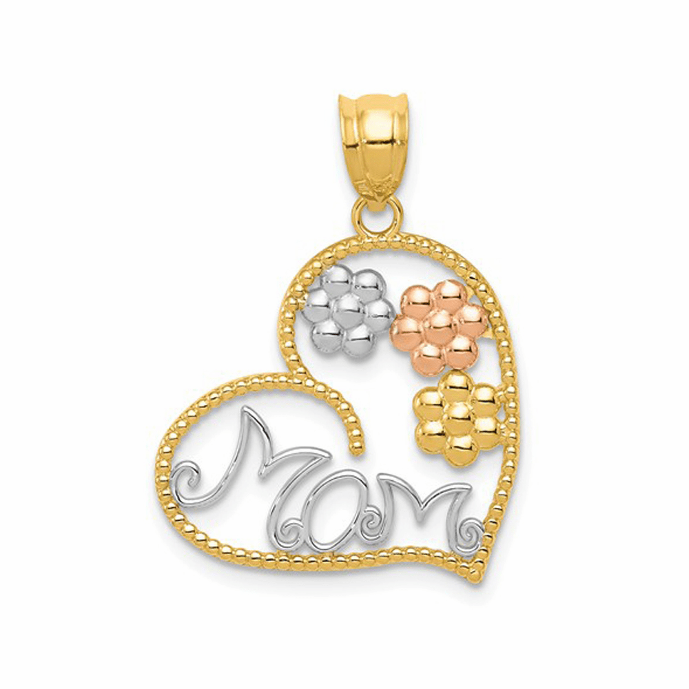 Tricolor Mom and Flowers Pendant - 14K Gold