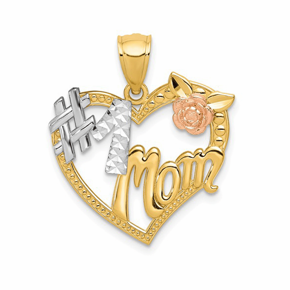 Two-Tone and Rhodium #1 Mom Heart Pendant - 14K Gold