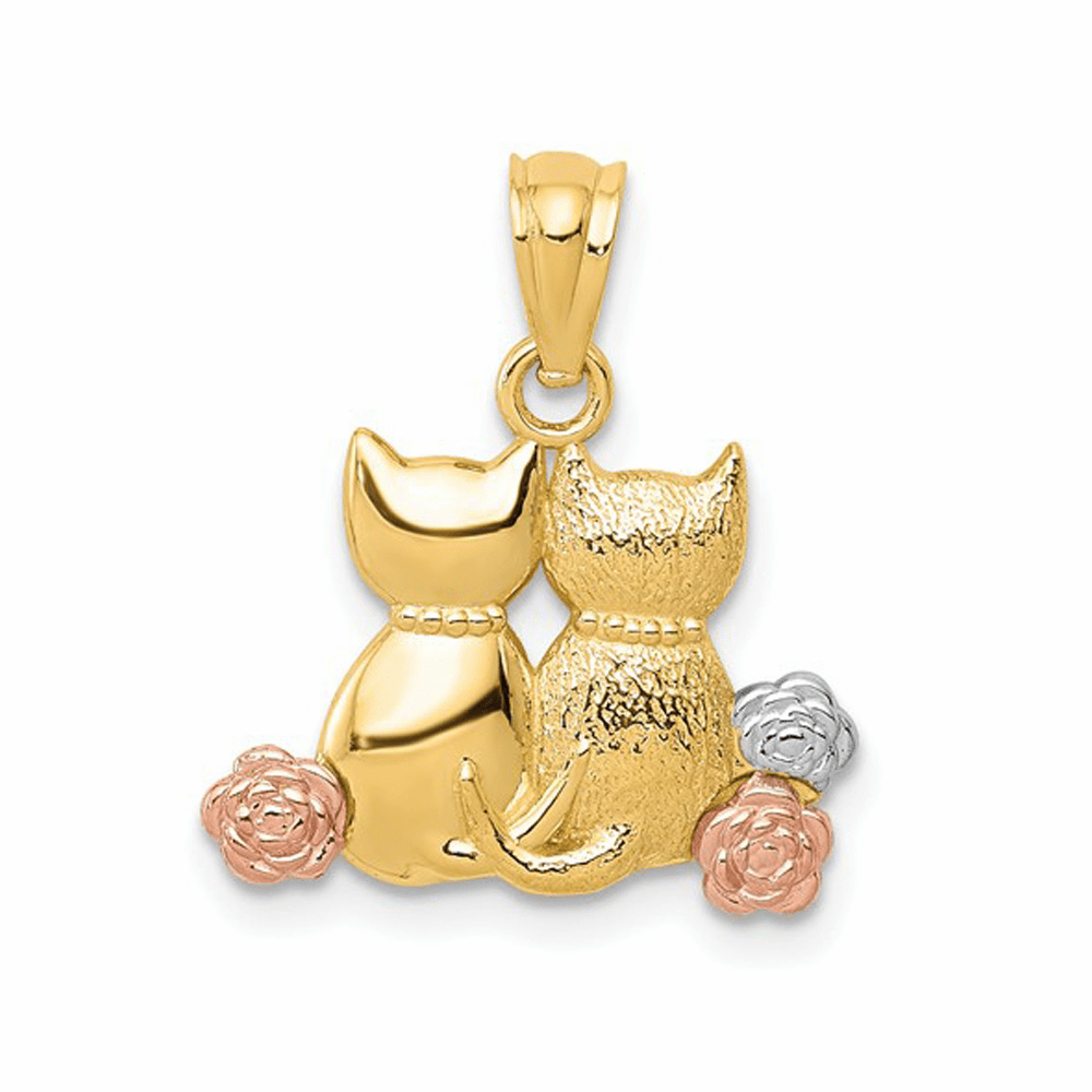 Two-Tone and Rhodium Cats Pendant - 14K Gold