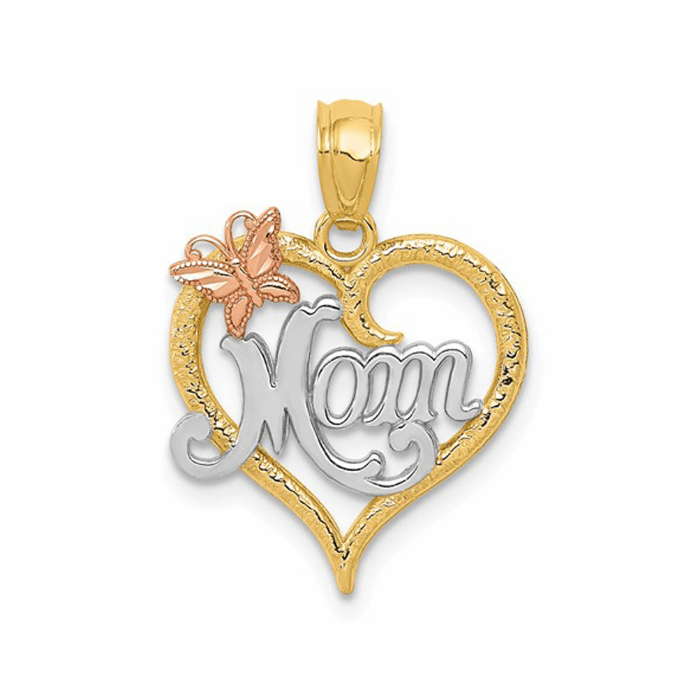 Two-Tone and Rhodium Mom Heart Pendant - 14K Yellow Gold