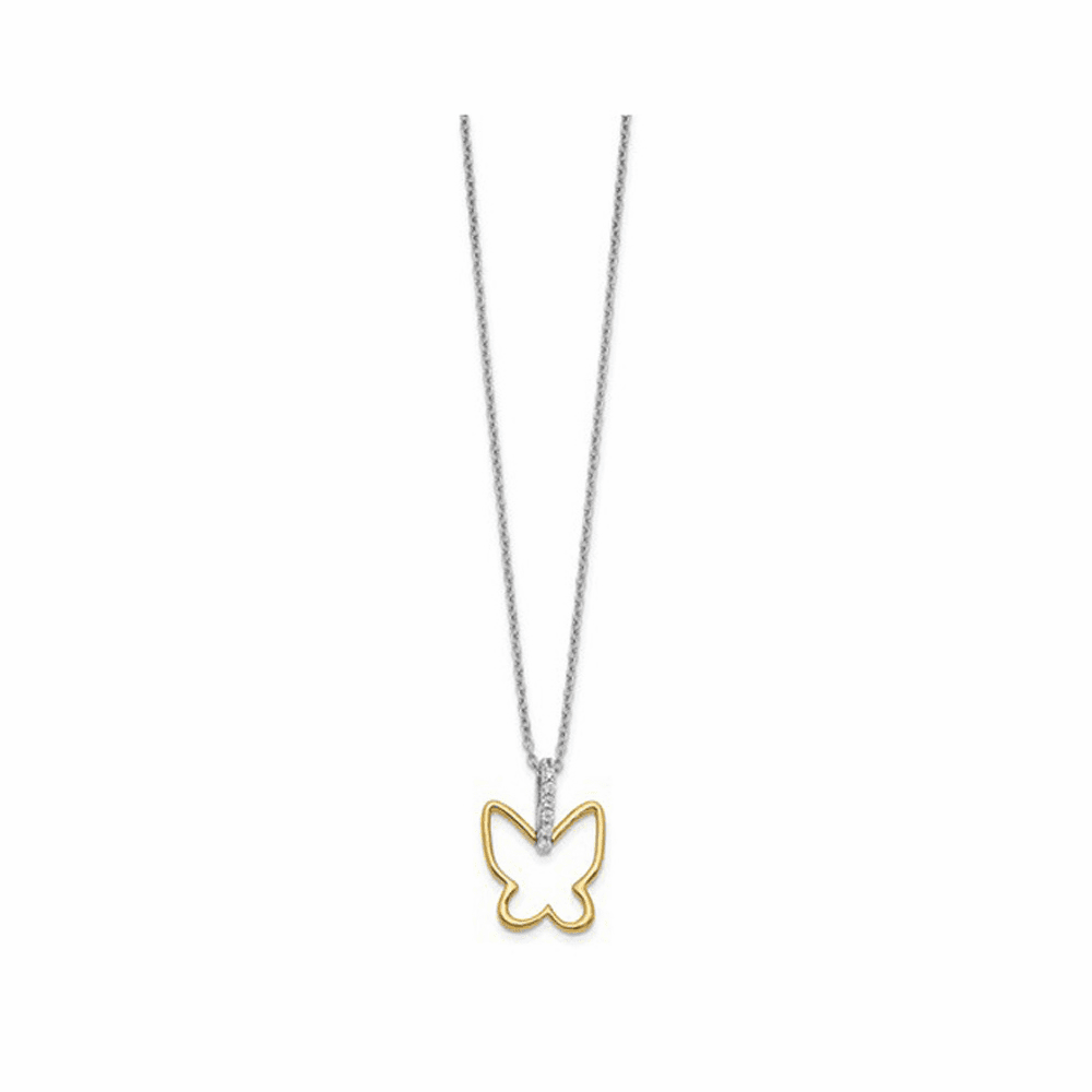 Two-Tone Diamond Butterfly Necklace - 14K Yellow Gold 18 Inch