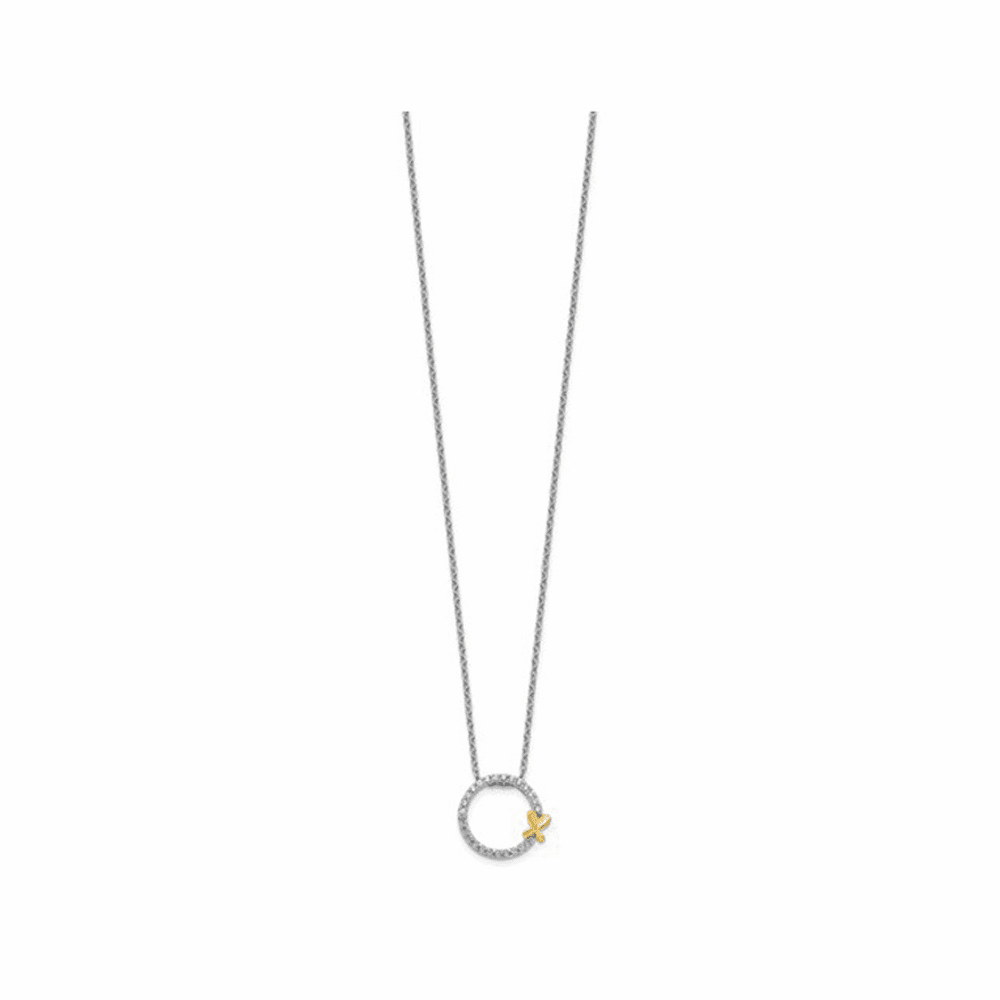 Two-Tone Diamond Butterfly On Circle Necklace - 14K White Gold 18 Inch