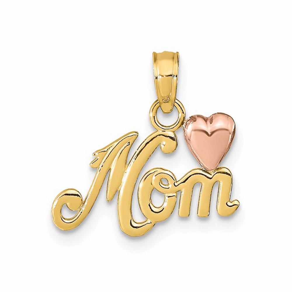 Two-Tone Polished Mom with Heart Pendant - 14K Gold