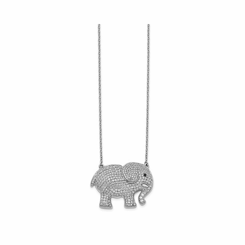 White and Black Diamond Elephant Necklace - 14K White Gold 18 Inch