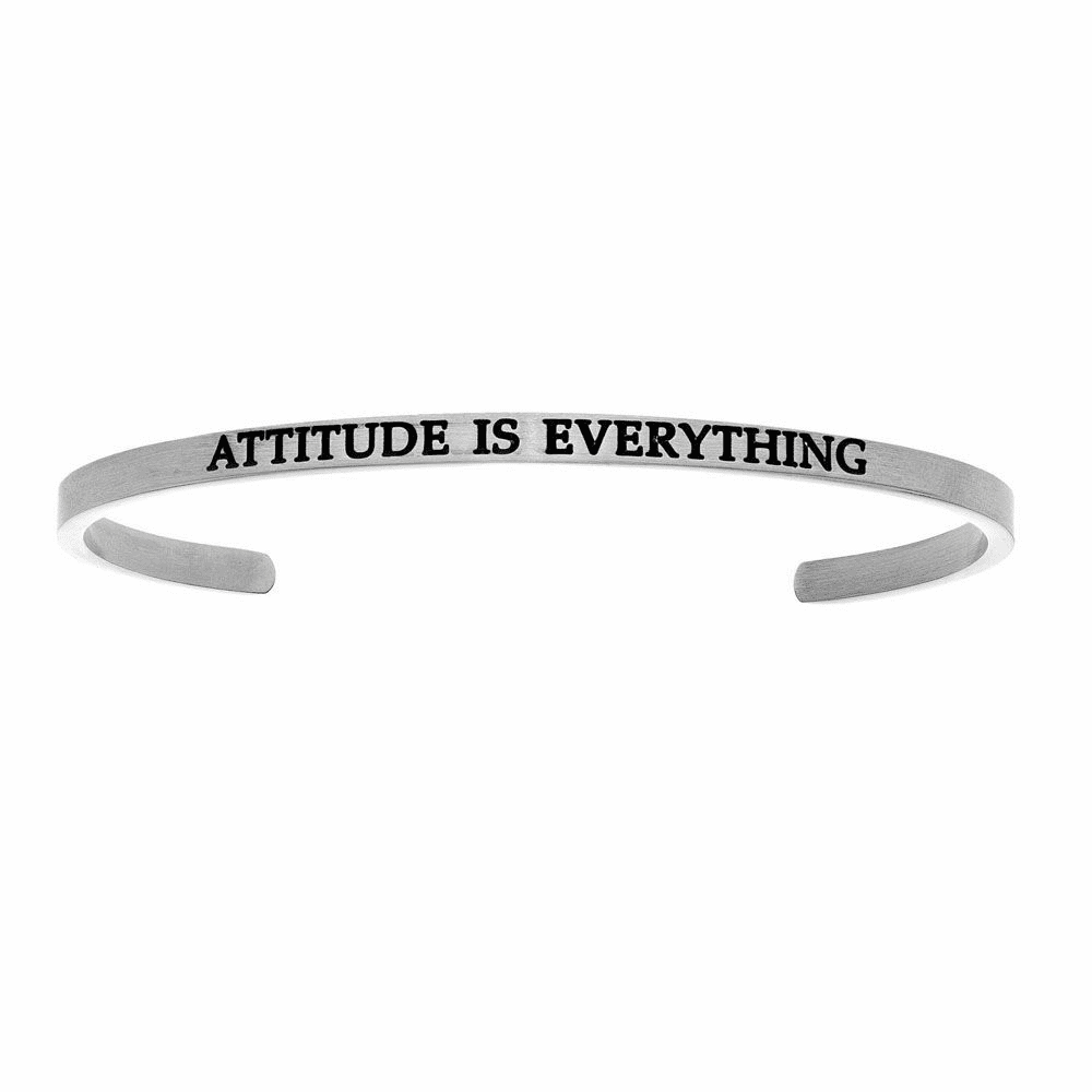 White Finish Attitude Is Everything Cuff Bangle - Stainless Steel