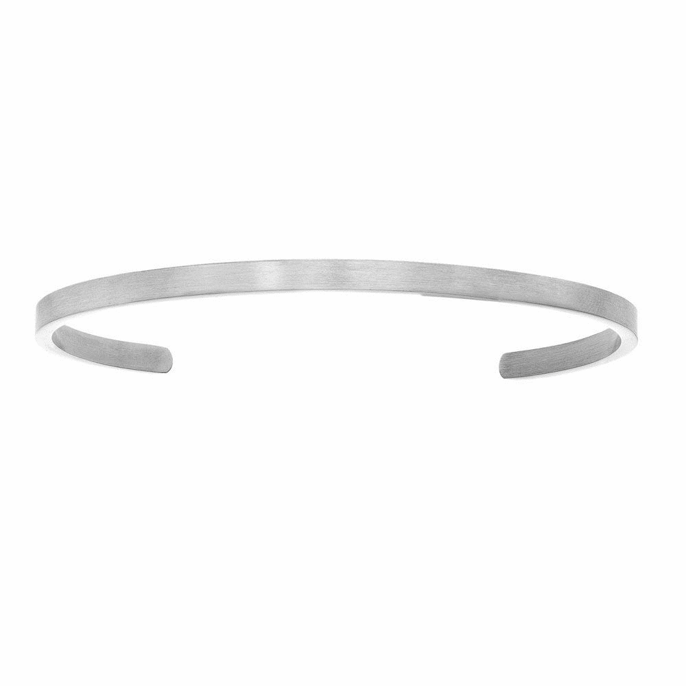 White Finish Intuition Cuff Bangle - Stainless Steel