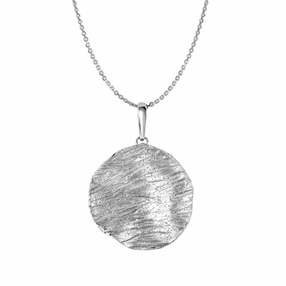 Wood Texture Sandblasted Round Necklace - Sterling Silver 18 Inch