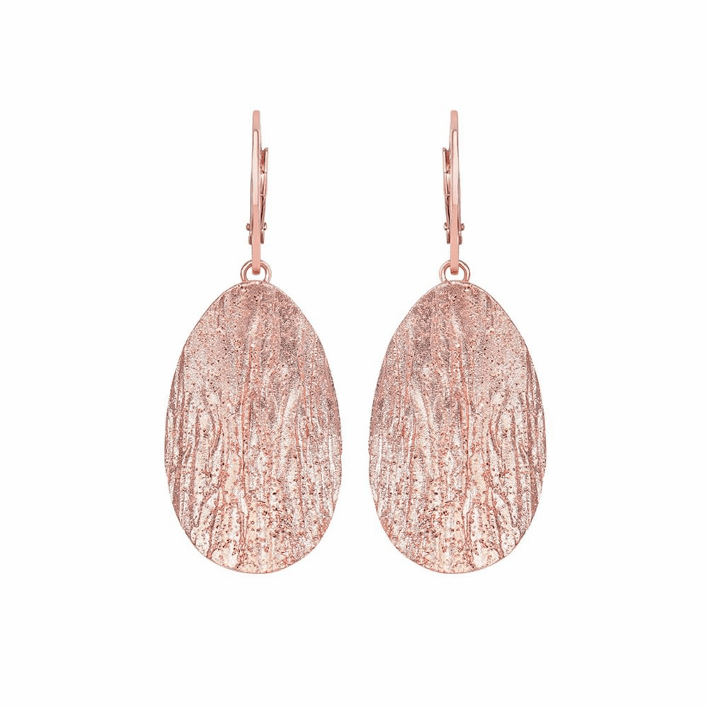 Wood Textured Sparkle Oval Leverback Earrings - Sterling Silver