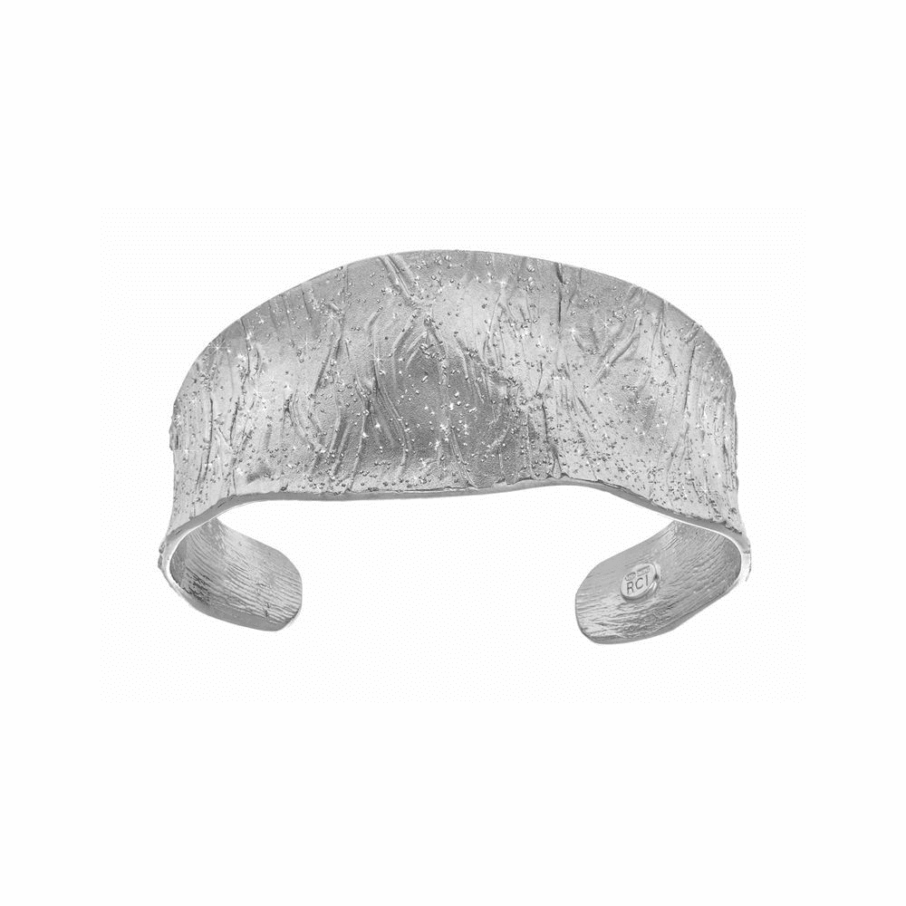 Wood Textured Sparkle Sandblasted Cuff Bangle - Sterling Silver