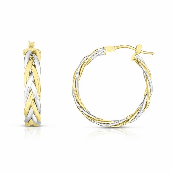 Woven 14k Gold Two-toned Round Hoop Earrings