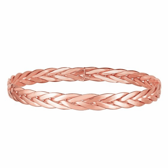 Woven 14k Rose Gold Eternity Clasp-less Bangle