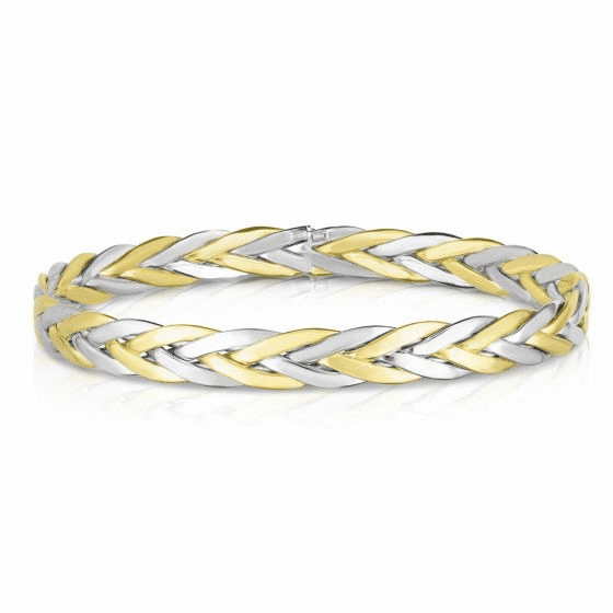 Woven 14k Two Tone Gold Eternity Clasp-less Bangle