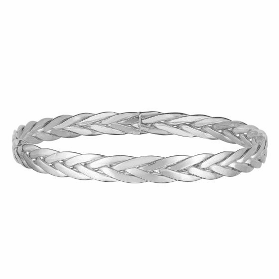 Woven 14k White Gold Eternity Clasp-less Bangle